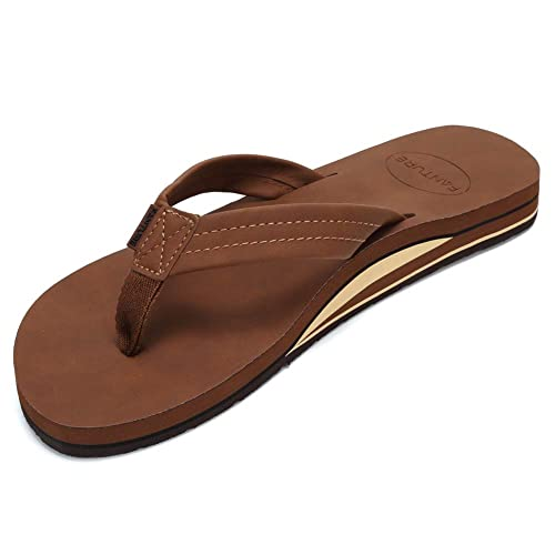 FANTURE Mens Sandals Arch Support Flip Flops with Wide Strap Orthotic Comfort Walk Thong Style Casual Slipper Indoor and Outdoor