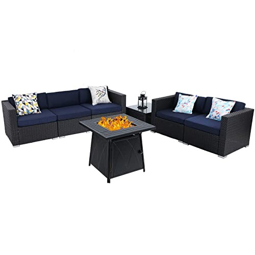 Sophia William Patio Furniture, Dineli Patio Furniture Sectional Sofa With Gas Fire Pit Table