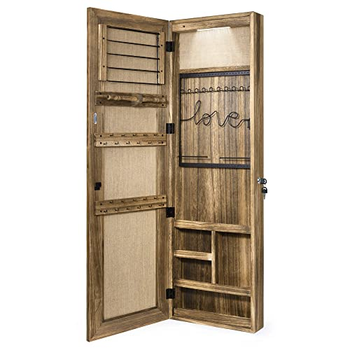 Sriwatana Jewelry Armoire Cabinet, Door Mount Mirror Full Length