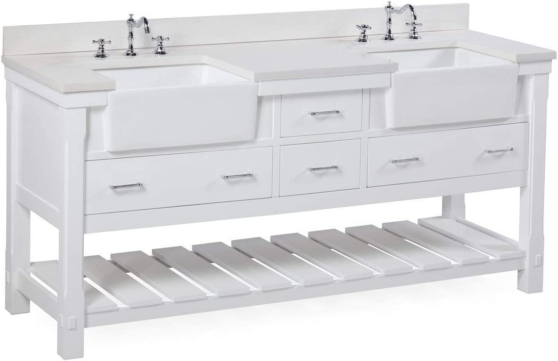 Buy Charlotte 72 Inch Double Bathroom Vanity Quartz White Includes White Cabinet With Stunning Quartz Countertop And White Ceramic Farmhouse Apron Sinks Online In Uk B071g1n99s